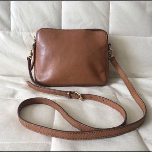 FOSSIL Sydney British Brown/ Tan Leather Crossbody